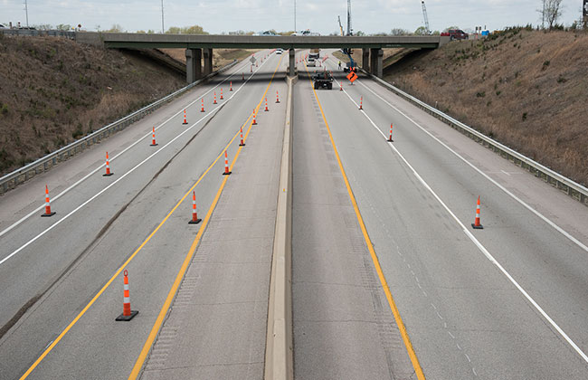 Highway construction traffic control